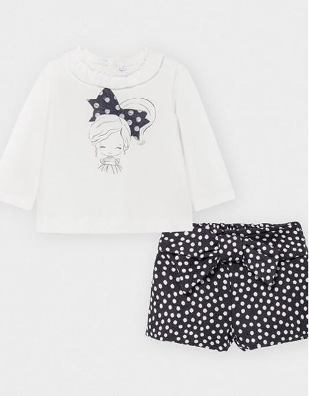 Navy T-Shirt And Polka Dot Shorts Set