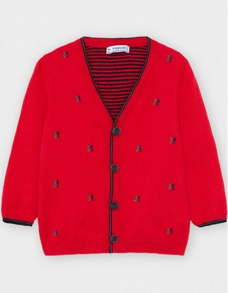 Red Formal Knit Cardigan