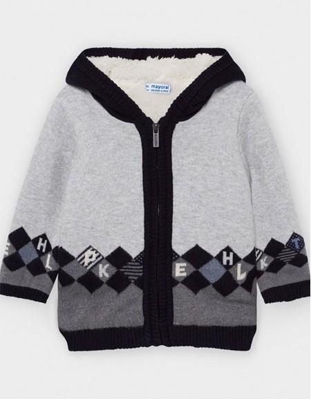 Blue Rhombus Patterned Lined Knit Jacke
