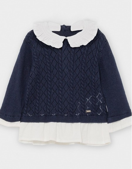 Navy Combined Poplin Jumper