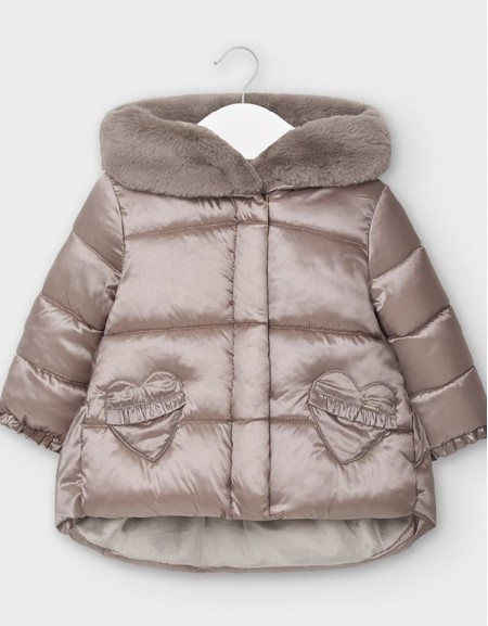 Platain Coat With Faux Fur Hood