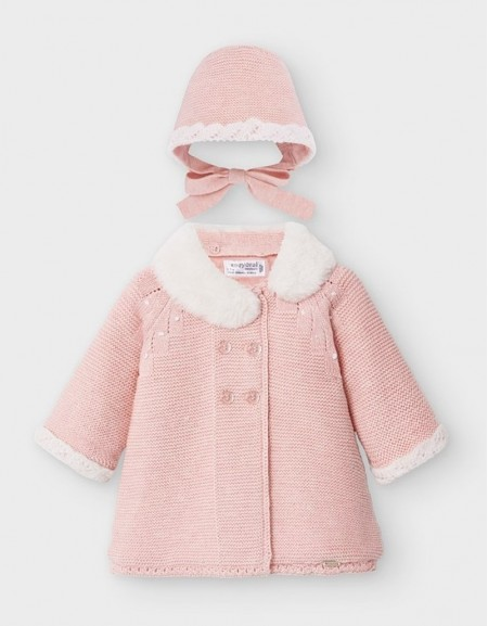 Blush Vig Knit Coat And Bonnet Set