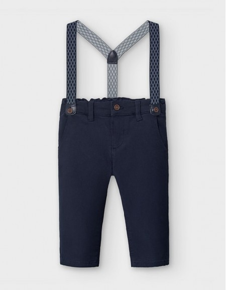Navy Pique Chino Trousers With Braces