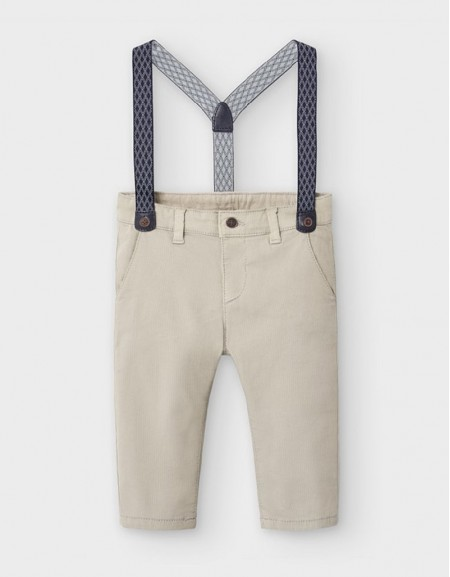 Piâ¦On Pique Chino Trousers With Braces