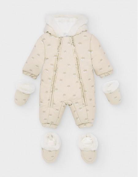 Nougat Patterned Microfibre Snowsuit