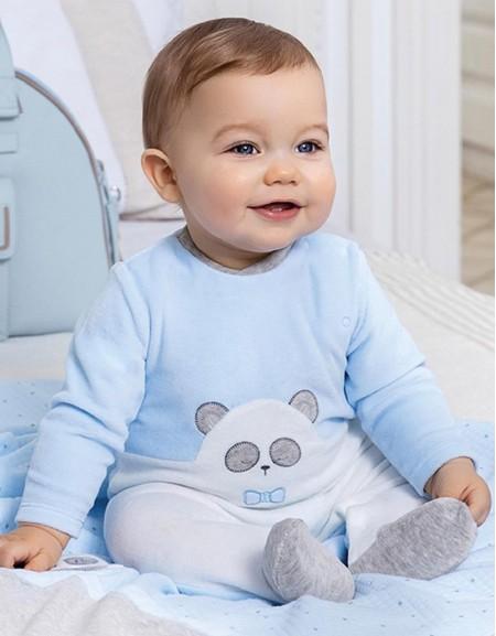 Sky Velour Ears Onesie Pyjamas