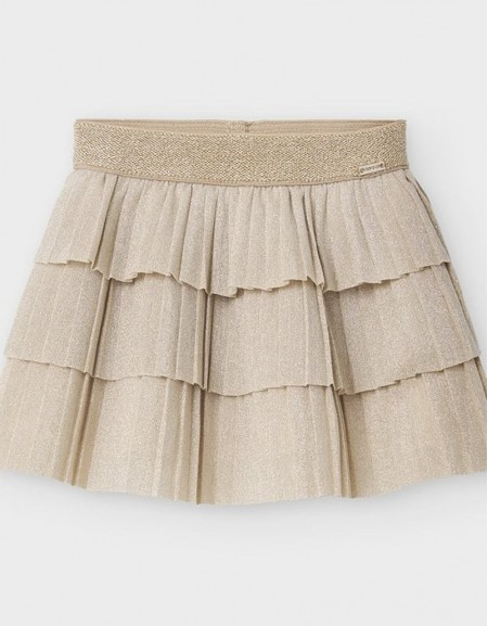 Champagne Pleated Skirt With Ruffles