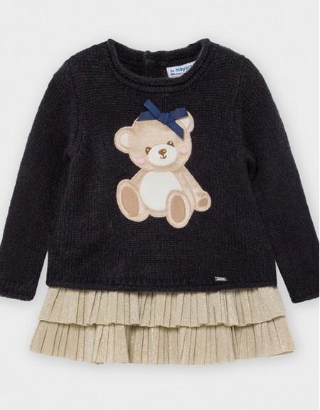 Navy Knit Dress With Bear Design