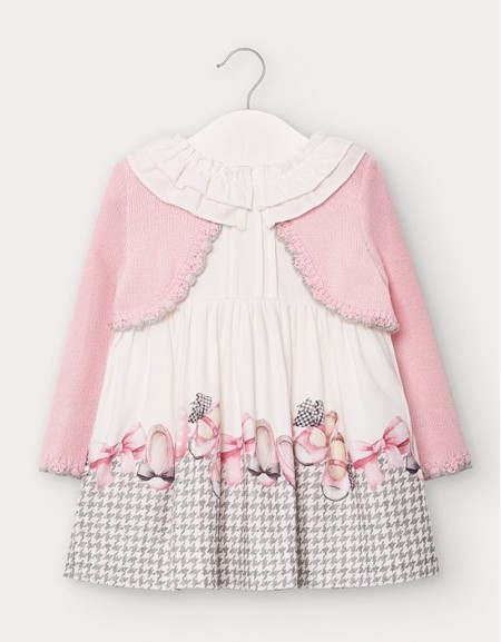 Rose Dress With Attached Cardigan