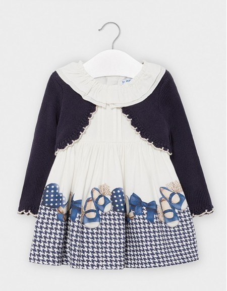 Navy Dress With Attached Cardigan