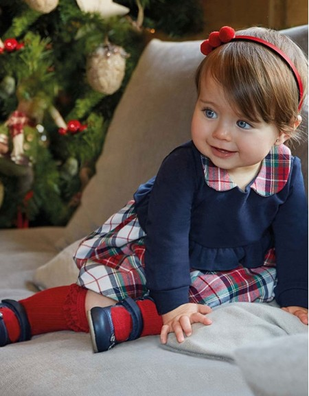 Navy Combined Checked Dress