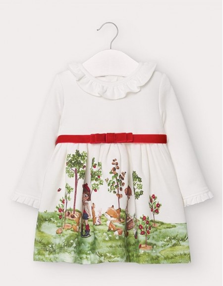Natur-Red Contrasts Dress Off White