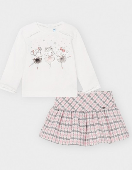 Rose Houndstoth Skirt Set Carmine