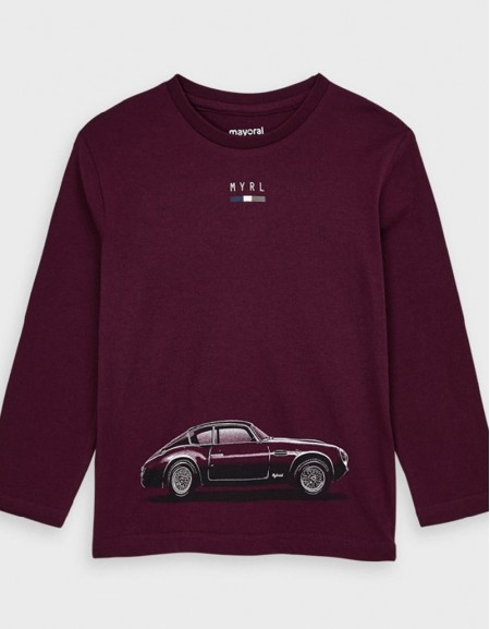 Burgundy Long Sleeved Car T-Shirt