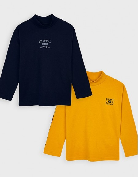 Navy Set Of Two Long Sleeved High Neck T-Shirts