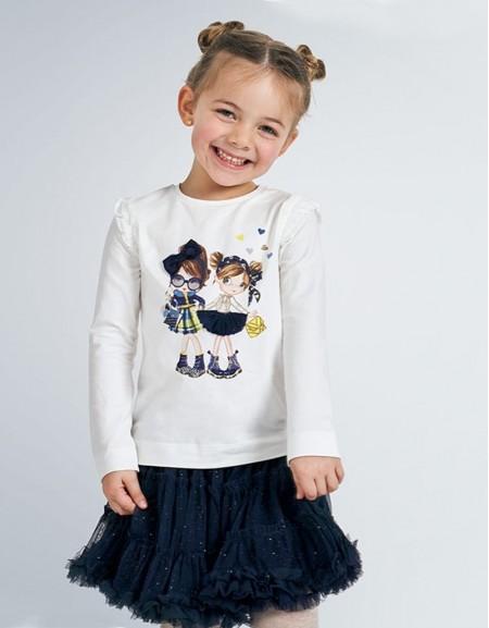 Navy Long Sleeved Dolls Print T-Shirt