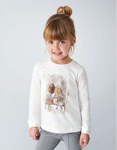 Gray Long Sleeved T-Shirt With Bow Cuffs
