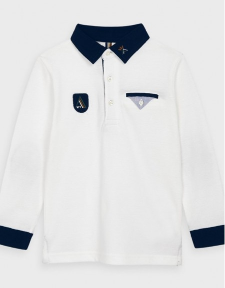 Cream Long Sleved Plain Polo Shirt Navy Blue