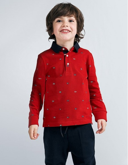 Cherry Long Sleved Patterned Polo Shirt