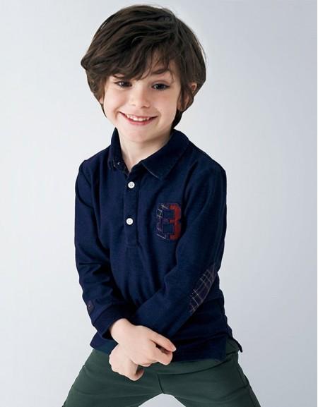 Denim Long Sleeved Denim Polo Shirt