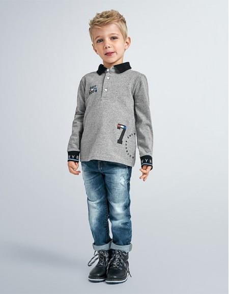 Iron Long Sleeved Granite Polo Shirt