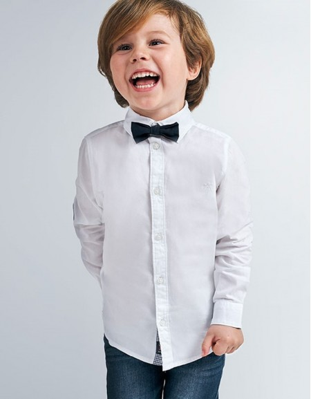 White Long Sleeved Plain Shirt With Bow Tie