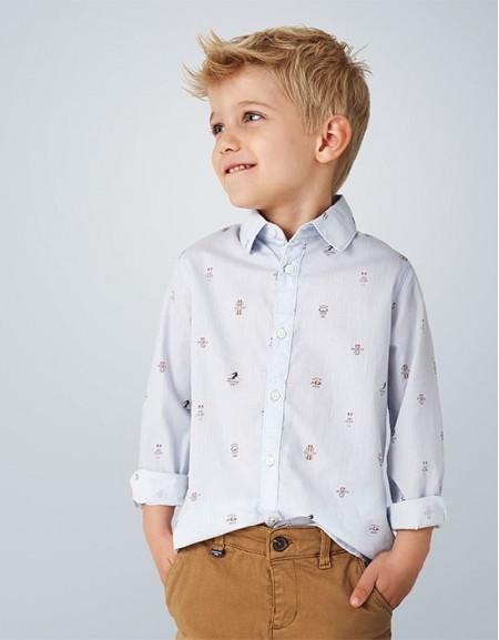 Lightblue Long Sleved Patterned Shirt Blue