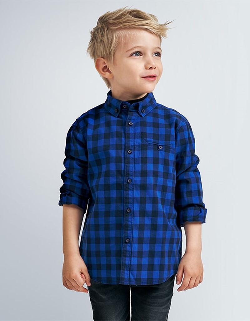 Azul Pop Long Sleve Vichy Shirt Blue Pop