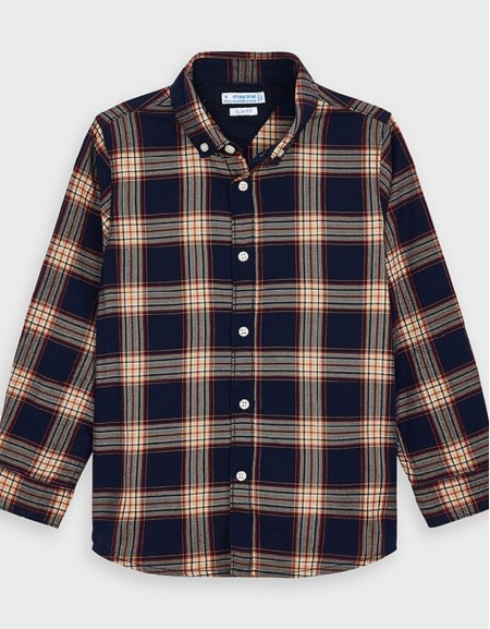 Navy Long Sleved Checked Shirt