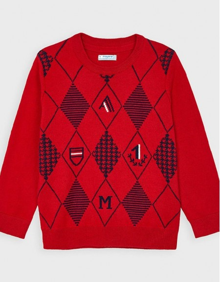 Cherry Rhombus Patterned Jumper