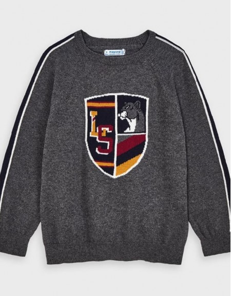 Gray Shield Jumper Navy Blue
