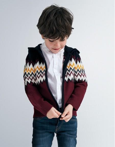 Burgundy Hoded Knit Jacket