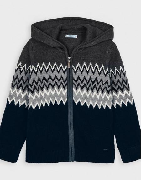Navy Hoded Knit Jacket
