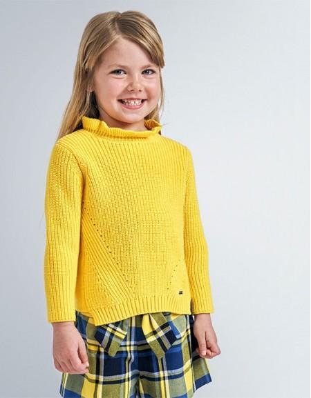 Yellow Ribbed Jumper Shiny Polka