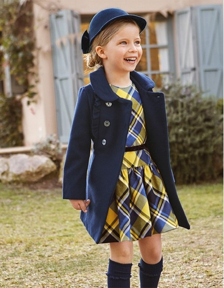 Navy Cloth Coat With Ruffles Ste