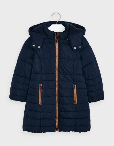 Navy Long Coat Beige