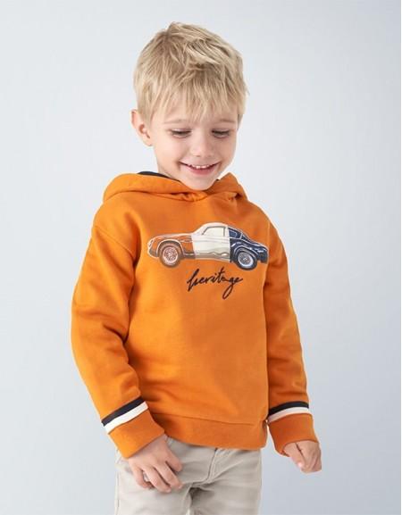 Cheddar Hooded Sweatshirt With Car Print