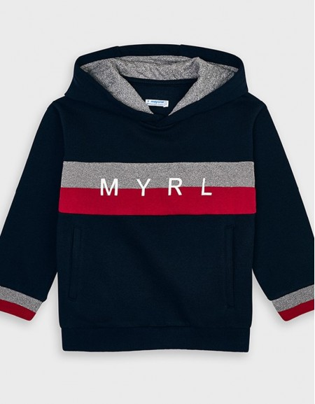 Navy Hoded Sweatshirt Wheat