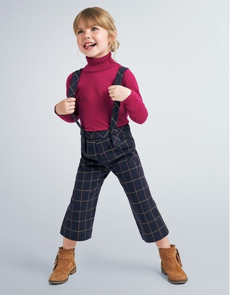 Navy Checked Culotte Trousers With Braces