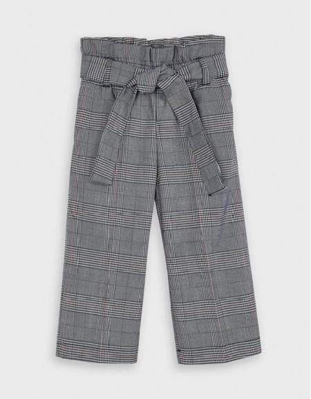 Navy Cropped Checked Trousers Gris