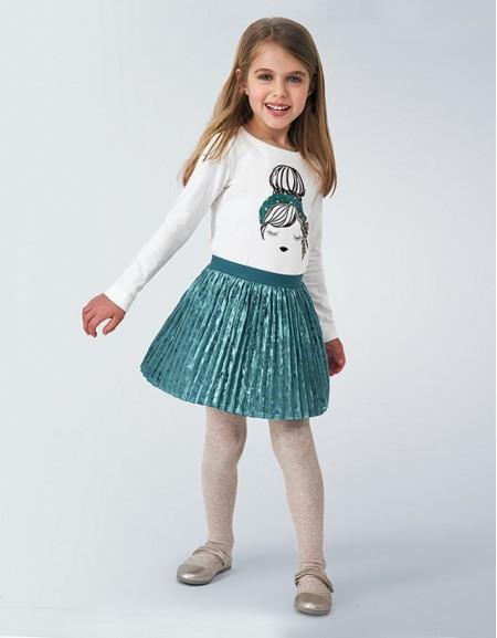 Duck Green Mayoral Skirt Velvet Pleated