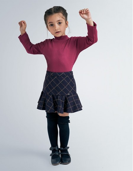 Navy Checked Skirt With Ruffles