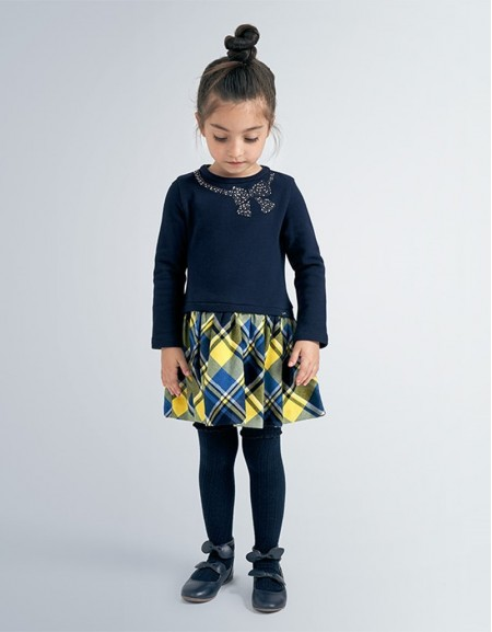 Navy Combined Checked Dress Off White