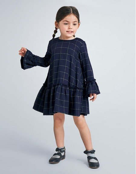 Navy Long Sleeved Checked Dress