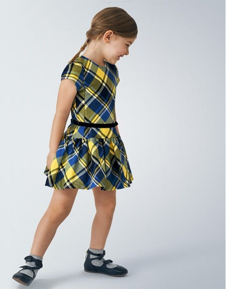 Yellow Short Sleeved Checked Dress
