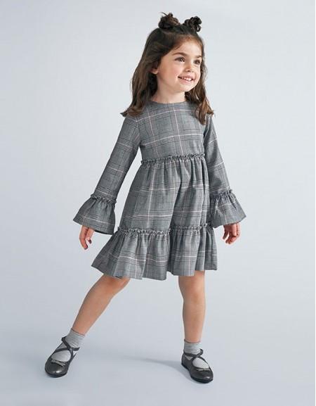 Gray Prince Of Wales Print Dress