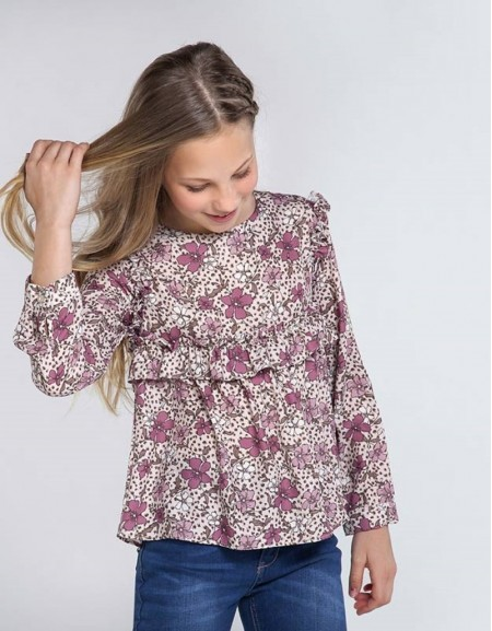 Pink Patterned Crepe Blouse