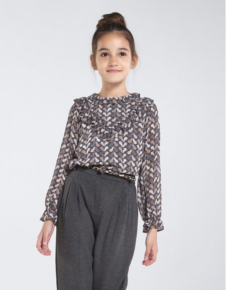 Lead Patterned Chiffon Blouse