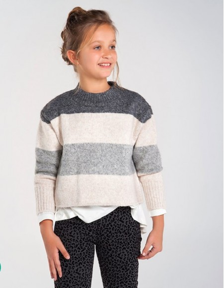 Bright Lea Block Stripes Knit Jumper