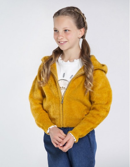 Mustard Knit And Faux Fur Hoodie